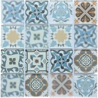 Blue Patterned Glass Mosaic Tile Square Meter (MT0179)