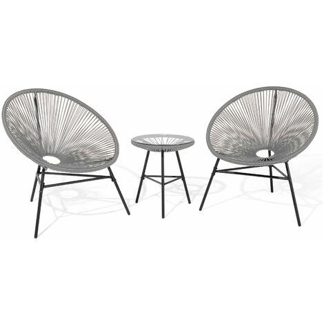 Blue Rattan Effect Outdoor 3-piece Attiro Lounge Set, Chair W80xD76xH84.5 cm and Table 42.5x50.5 cm - Blue