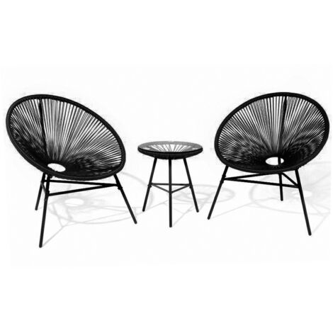 Blue Rattan Outdoor 3-piece Attiro Lounge Set, Chair W80xD76xH84.5 cm and Table 42.5x50.5 cm - Blue