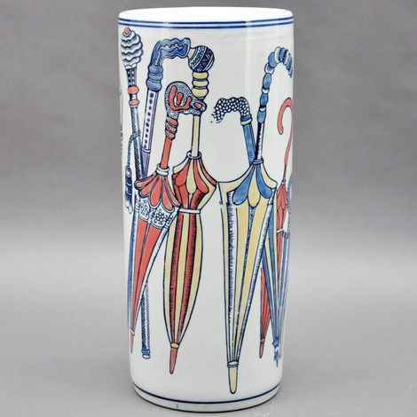 Blue Red And White Butterfly Design Ceramic Umbrella Stand