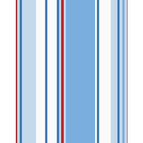 Blue / Red / White - 10666 - Poppins Stripe - Kids - Holden Decor Wallpaper