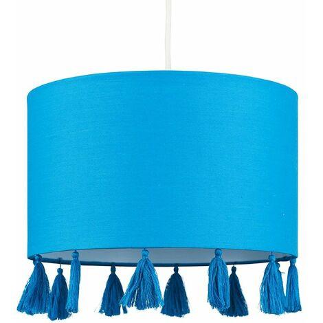 Blue Tassel Ceiling Pendant Light Shade 10W LED Bulb Warm White