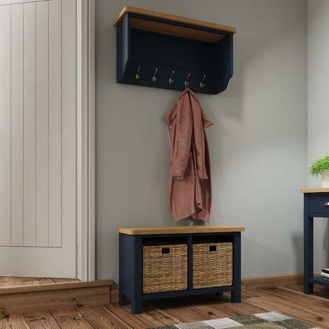 "main image of ""Blue Two Tone Wall Mounted Hallway Coat Rack 5 Hooks Bevelled Mirror Oak Top"""