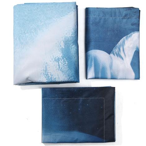 Blue Unicorn 3D Bedding Set Duvet Cover Duvet Doona With 2 Pillowcases (Size: Queen)