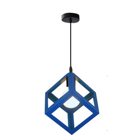 Blue Unique Geometric Cube Pendant Light E27 Modern Suspension Lighting Square Metal Ceiling Lamp Restaurant Drop light for Loft Cafe Bar