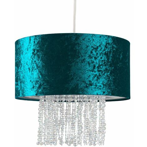 Blue Velvet Ceiling Pendant Light Shade With Clear Acrylic Droplets + 10W LED Bulb Warm White