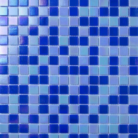 Blue & White Mix in Iridecsent Glass Mosaic Tiles Sheet MT0142
