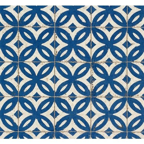 Blue White Tile Effect Wallpaper Realistic Vintage Abstract Floral Paste Wall