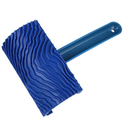 Blue Wood Grain Rubber Paint Roller DIY Painting Grain Tool Wood Grain Pattern Paint Roller