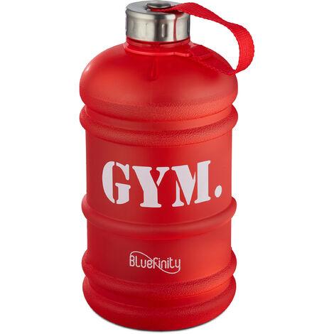 Bluefinity Bouteille d'eau 2,2 L GYM Gourde sport camping XXL bidon d'eau fitness jerrican sans BPA et Phtalate, rouge