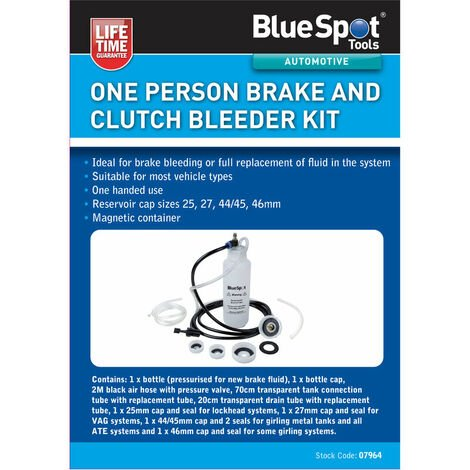"""main image of """"BlueSpot 07964 One Person Brake And Clutch Bleeder Kit"""""""