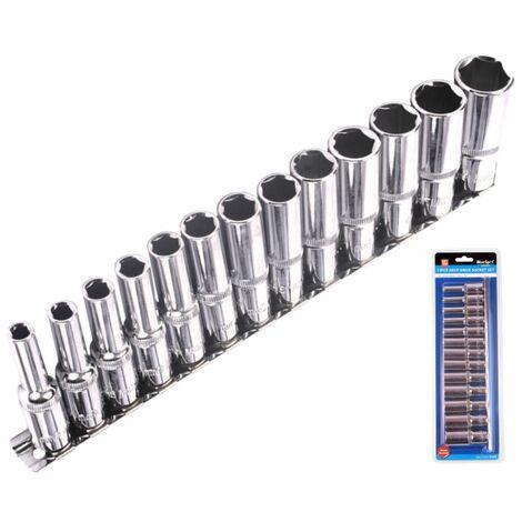Bluespot Metric Deep Socket Set/ Long Reach Sockets On Rail 3/8 Inch Drive 6-19mm
