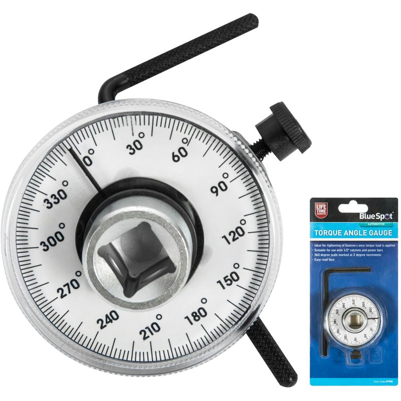 BlueSpot Torque Angle Gauge Easy Read Face For Socket Ratchets 1/2 Inch  Drive