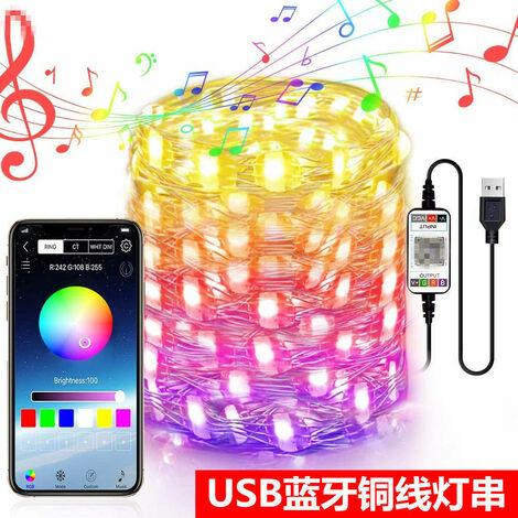 Bluetooth Smart luces APP telefono movil cable de cobre cadena de la luz decoracion de Navidad divertidas luz de la secuencia USB coqueteando decoracion de la habitacion de 20 metros BluetoothfullcolorAPP 200 luces