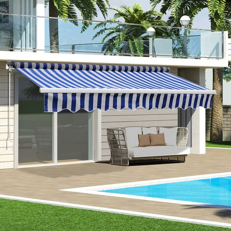 Blue&White Retractable DIY Manual Patio Awning Canopy Garden Shade Shelter