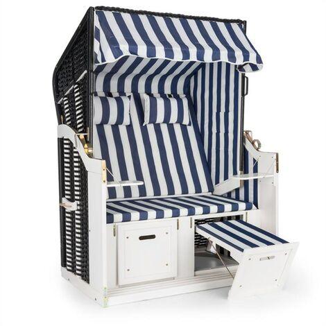 Blum Hiddensee Chaise longue cabine plage XL 2 places rayures - bleu/blanc