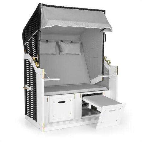 Blum Hiddensee Chaise longue corbeille cabine plage XL 2 places - gris