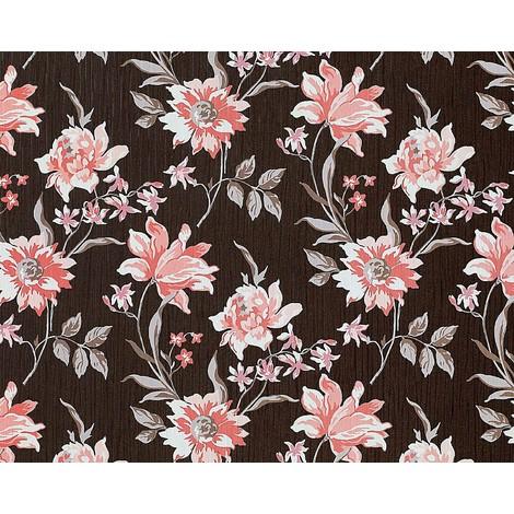 Blumen Tapete Vliestapete Landhaus Tapete EDEM 900 15 Floral Hochwertige  Textiloptik Braun Altrosa Weiß Grau