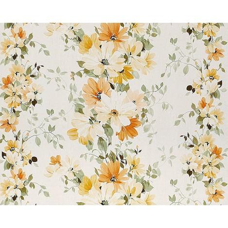 Lieblich Blumen Tapete Vliestapete Landhaus Tapete EDEM 907 02 XXL Floral  Hochwertige Textiloptik Weiß Gelb Orange