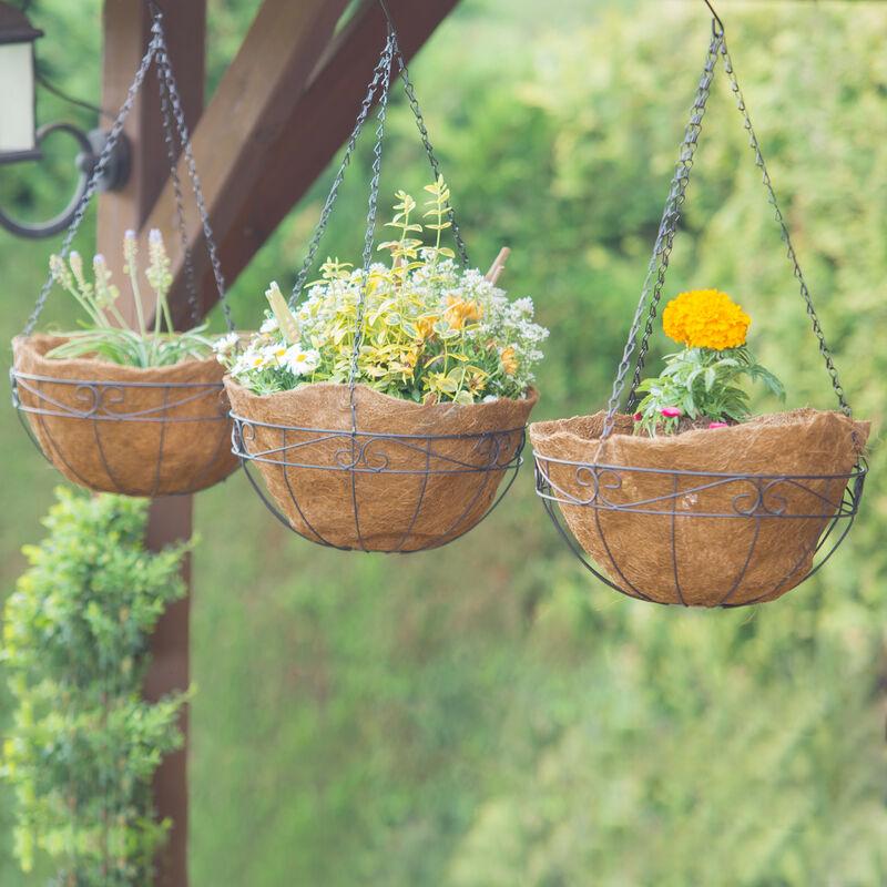 Blumenampel 3 Korbe Kokos 33 Liter Volumen Mit Kette 35 Cm Durchmesser Als Hangeampel Braun 2100207052171