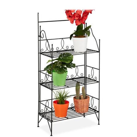 Blumenregal, 3 Ebenen, klappbar, Indoor & Outdoor, Metall, Vintage Pflanzenregal, HBT 100x50x25 cm, schwarz