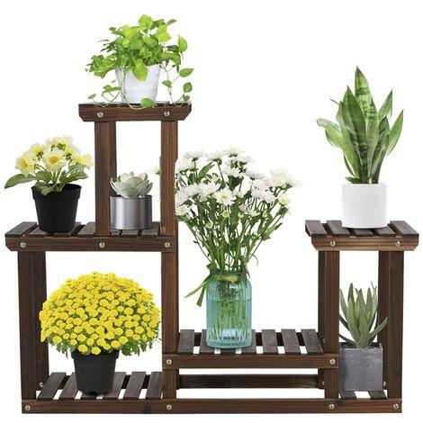 Blumenregal aus Holz, Pflanzenregal Balkon, Pflanzentreppe mehrstöckig, Blumentreppe 4 Ebenen, Holzregal 95 x 25 x 73 cm