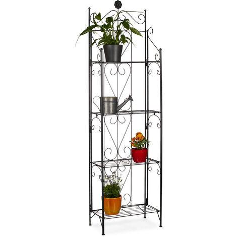 Blumenregal Metall 4 Ablagen, klappbar, für draußen, als Pflanzenregal, HxBxT: 157 x 44 x 24 cm, schwarz