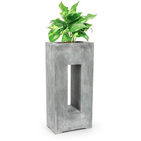 Blumfeldt Airflor Plant Pot 45 x 100 x 27 cm Fiberglass In/Outdoor light grey