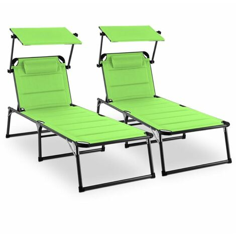 Blumfeldt Amalfi Juicy Lime Sun Lounger 2-piece Set Padding Steel Pipe Green