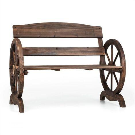 Blumfeldt Ammergau Garden Bench Wagon Wheel Wooden Bench 108x65x86cm Pine Wood Flames