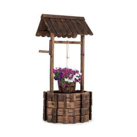 blumfeldt Andernach Fuente decorativa de madera de abeto con cubo manivela giratoria Marrón