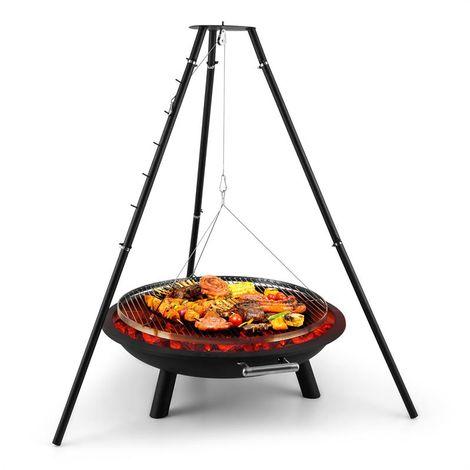 Blumfeldt Arco Trino Swivel Grill Fire Pit BBQ Tripod Stainless Steel