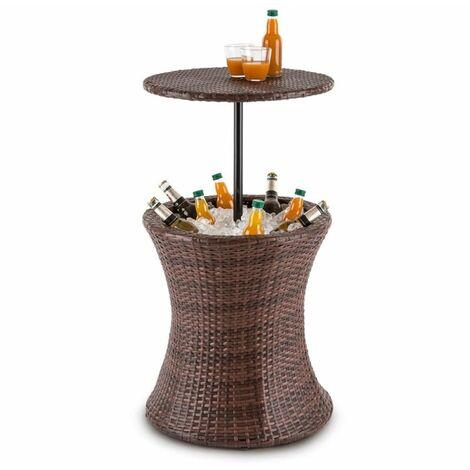 Blumfeldt Beerboy mesa de jardín enfriador de bebidas Ø50cm poliratán bicolor marrón