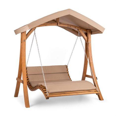 Blumfeldt Bermuda Bench Swing Garden Swing 130 cm 2-Seater Sun Sail
