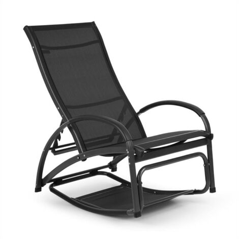 Blumfeldt Beverly Wood Sun Lounger Rocking Chair Aluminium Black