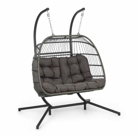 Blumfeldt Biarritz Double Hanging Chair Two-Seater Seat Cushion 130 kg Dark Grey
