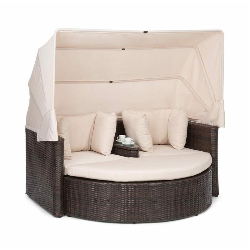 Heartland Canapé lounge 2 places avec tabouret table parasol écru - Blumfeldt