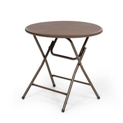 Blumfeldt Burgos Round mesa plegable polirratán 80 cm Ø superficie 4 personas marrón
