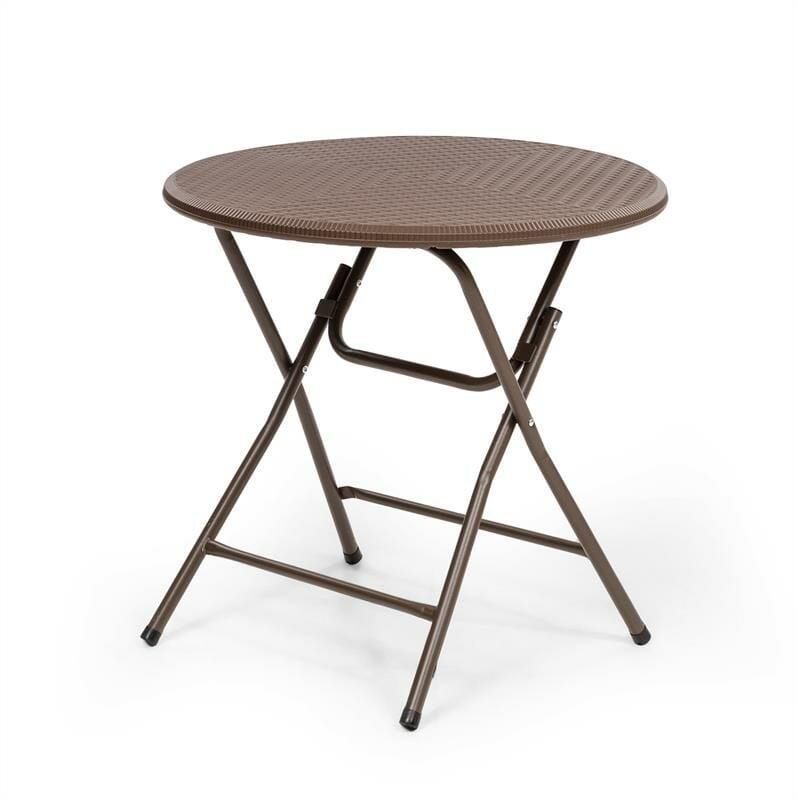 Burgos Round Table de jardin pliante Ø 80cm polyrotin marron