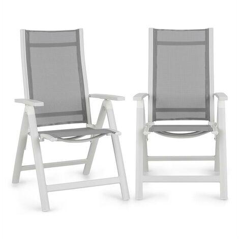 Blumfeldt Cádiz Juego de 2 sillas plegables 59,5 x 107 x 68 cm ComfortMesh Aluminio Blancas