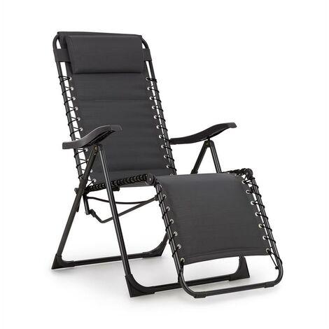 Blumfeldt California Dreaming Chaise de jardin transat pliant cadre acier gris