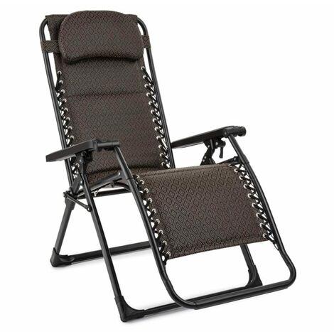 Blumfeldt California Green Recliner Garden Chair Foldable Upholstered Argyle Pattern