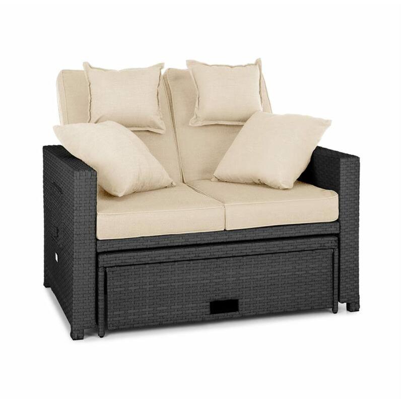 Canapé lounge 2 places en rotin synthétique tables pliantes