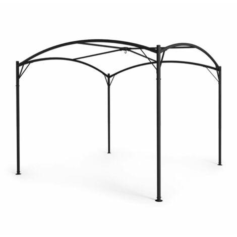 Blumfeldt Castello Pavillon-Rahmen 3,5x3,5m Stahl Pulverbeschichtet schwarz