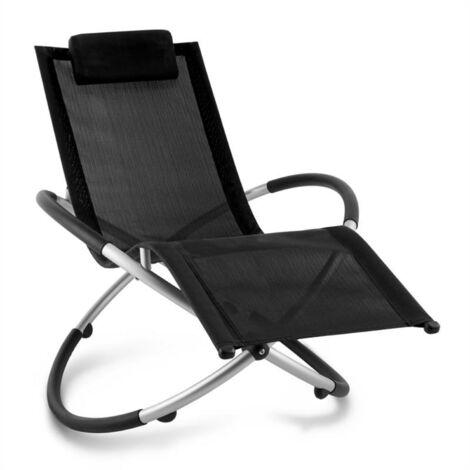 Blumfeldt Chilly Billy Aluminium Deck Chair Lounger Black
