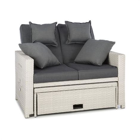 Blumfeldt Comfort Zone Rattan Lounge Sofa Two-Seater Polyrattan Foldable Table White