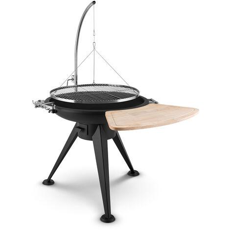 blumfeldt Delion Grill colgante Jirafa base de fuego Pie alto Tracción de cable Acero inoxidable