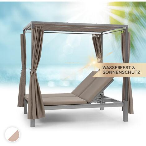 Blumfeldt Eremitage Double Sunbed 2 Pers Stahl-Rahmen Sonnendach Vorhänge taupe