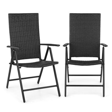 blumfeldt Estoril Garden Chair Poly Rattan Aluminium 7 Steps Hinged Black
