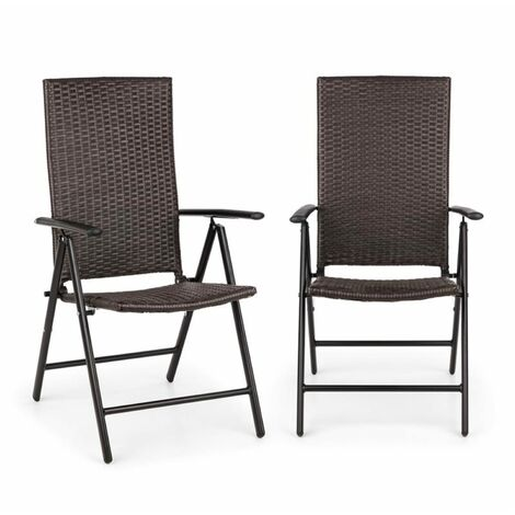 Blumfeldt Estoril Garden Chair Poly Rattan Aluminium 8 Steps Hinged Brown